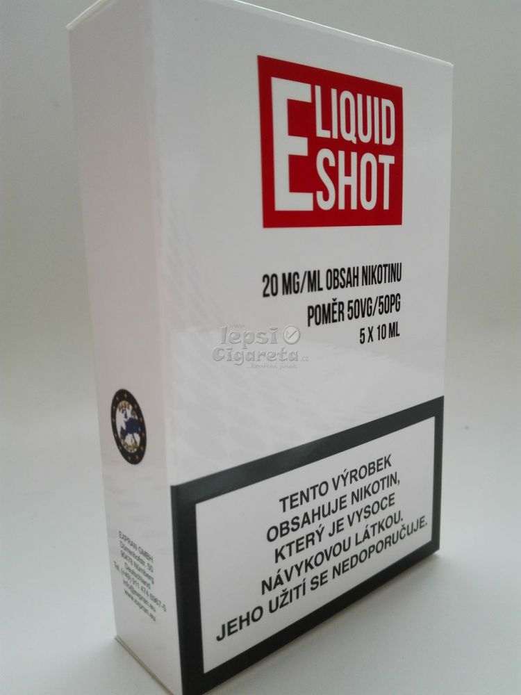 E-liquid Shot 50/50 20 mg booster, 5x10 ml